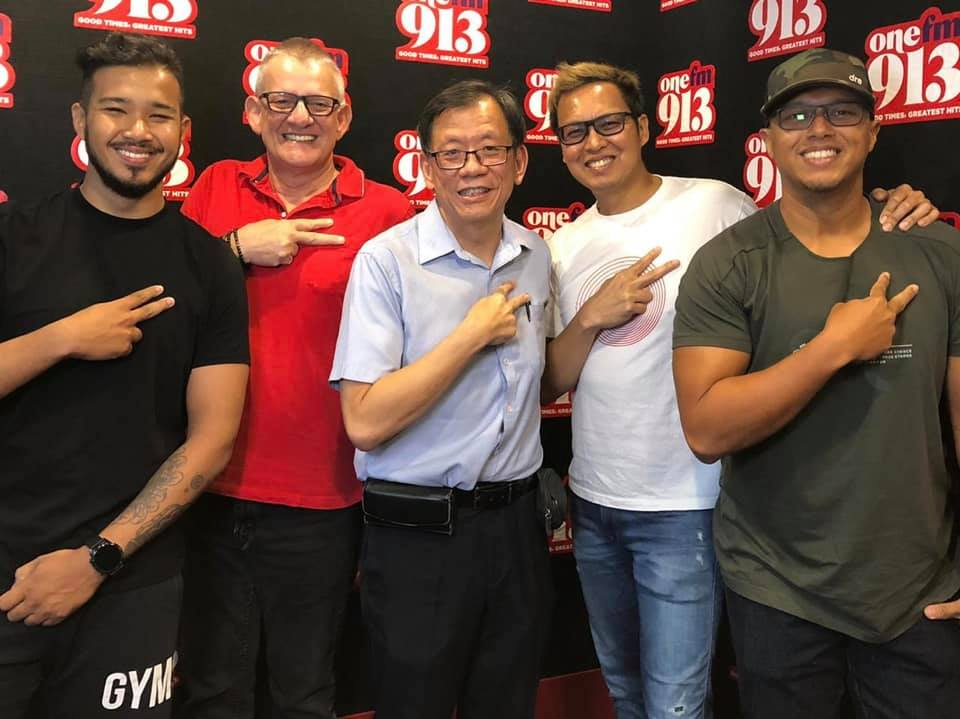 Dr Leong Hoe Nam visiting ONE FM's Glenn and The Flying Dutchman on March 4, 2020